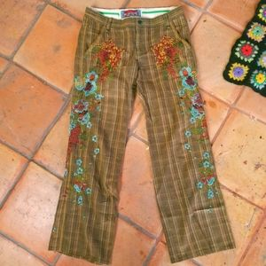 Johnny Was Plaid Floral Embroidered Bootcut Pants